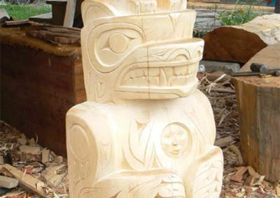 """Bear and Eagle totem pole, 7' by 2 1/2' by 18"""", yellow cedar, 2009"""