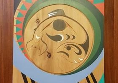 """Salish Sea Waters, 7' by 3' by 2"""", red cedar panel, Vancouver City Hall- Council Chambers, 2016"""