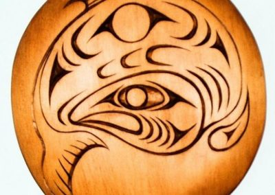 """Salmon Spindle Whorl, 3' by 3' by 2"""", red cedar, 2008"""