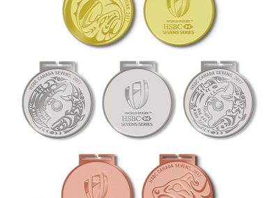 Thunderbird design on Bronze medal, HSBC Canada Sevens Vancouver World Rugby, 2017